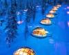 Стеклянные сферические домики  отеля Kakslauttanen в Финляндии